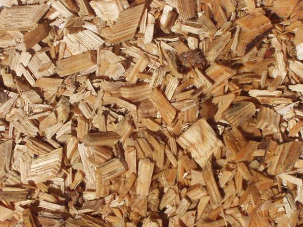 Natural wood chips chip and bark garden